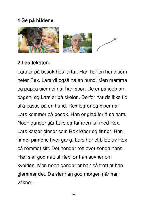 Fokus på skriving - hefte 2 - Gutt koser med hund - Tekst 1A side 1