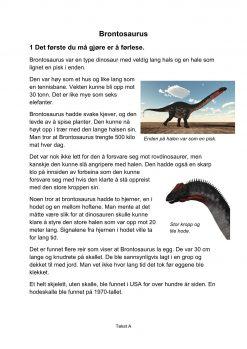 Lesestrategier og lesetrening i fagtekster - Brontosaurus, A, Hefte 2, BM_1