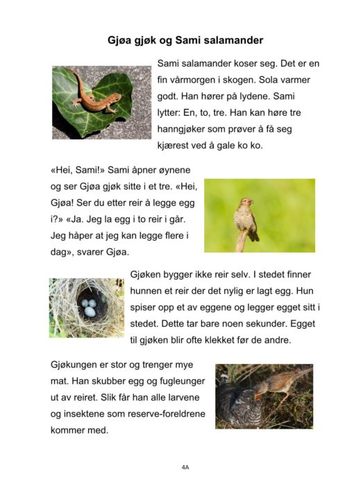 Bokmål eksempel fra Dyrene i skogen tekst 4A side 1