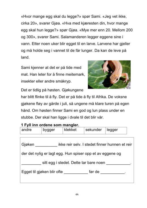 Bokmål eksempel fra Dyrene i skogen tekst 4A side 2