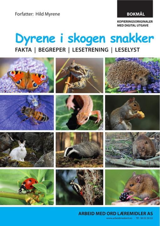 Bokmål forside av Dyrene i skogen snakker