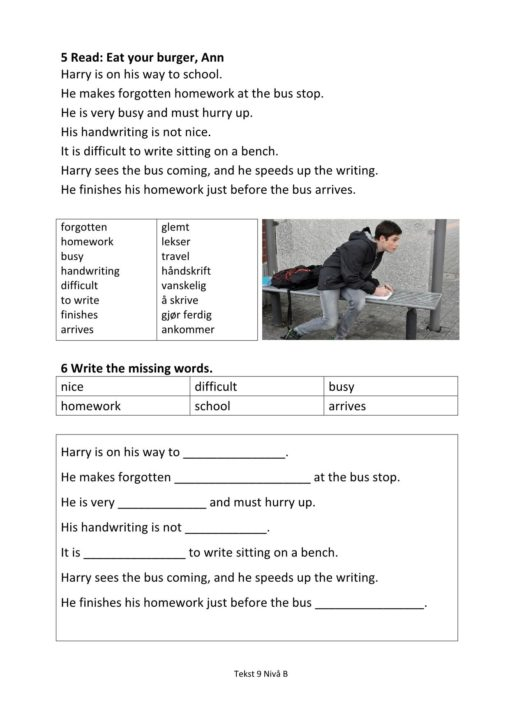 Eksempel side 2 av Everyday English - Hefte 1 Nivå B