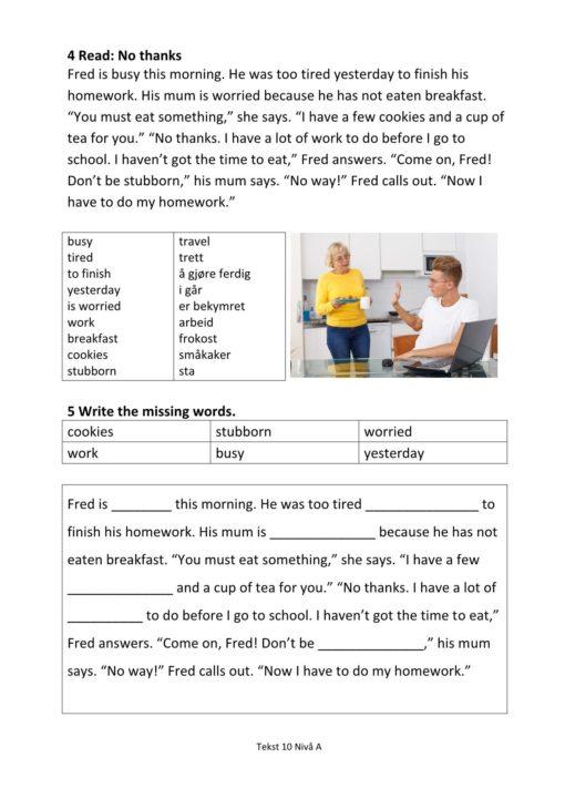 Eksempel side 2 av Everyday English - Hefte 2 Nivå A