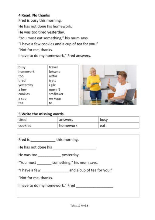 Eksempel side 2 av Everyday English - Hefte 2 Nivå B